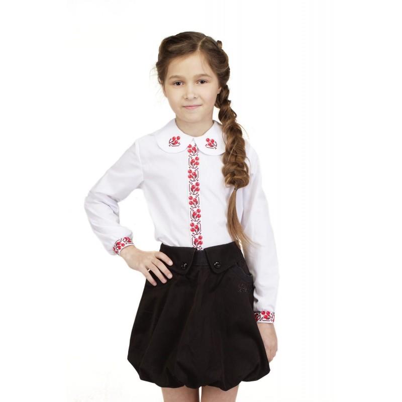 Блуза вышиванка для девочки Калиночка (сорочечная белая)