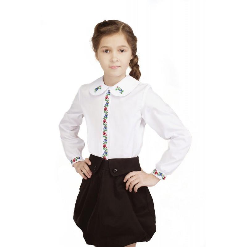 Блуза вышиванка для девочки Ласкавица (сорочечная белая)