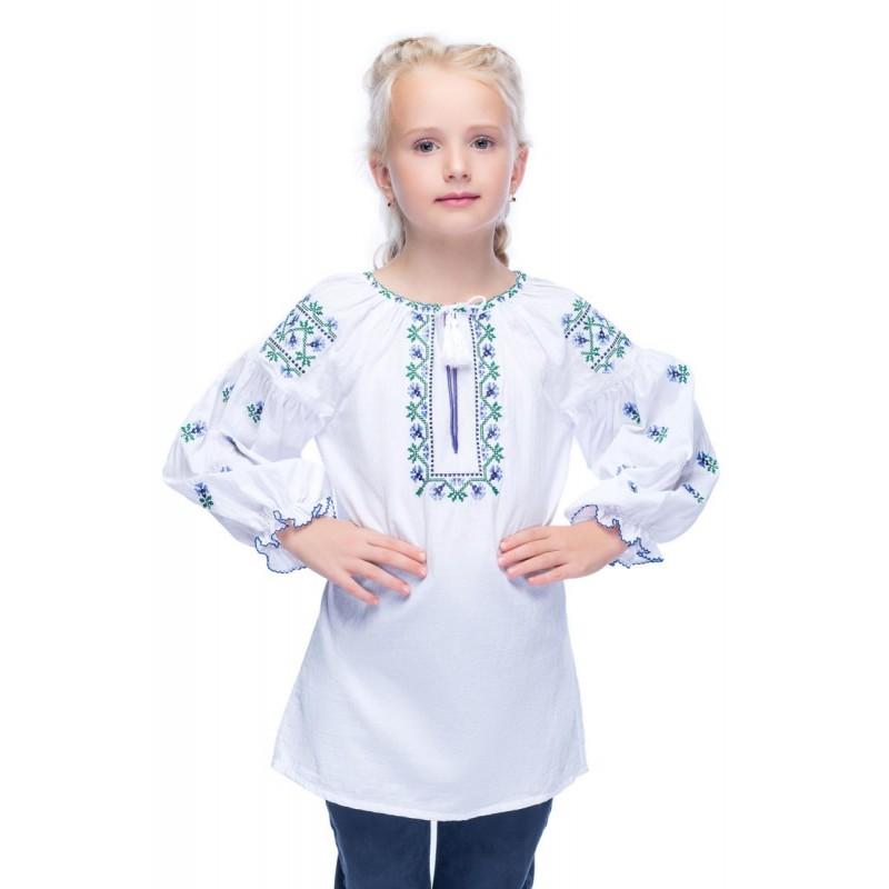 Блуза вышиванка для девочки Радуга (батист белый)