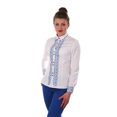 Блузка вышиванка женская Звенислава (поплин белый)
