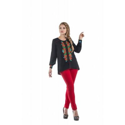 Блузка вышиванка женская Карпатский веночек (штапель чёрный)