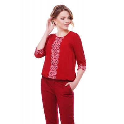 Блузка вышиванка женская Зореслава (штапель бордовый)