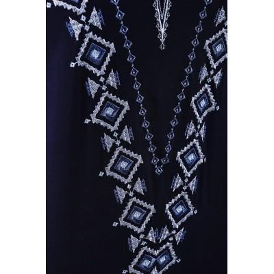 Блузка вышиванка женская Желанная (штапель темно-синий)