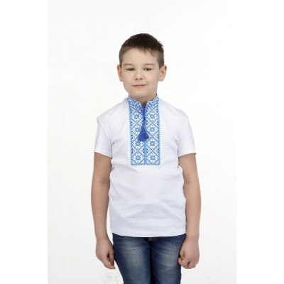 Футболка вышиванка для мальчика Милодар (интерлок белый)