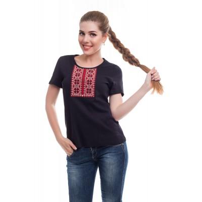 Футболка вышиванка женская Роксолана (интерлок черный)