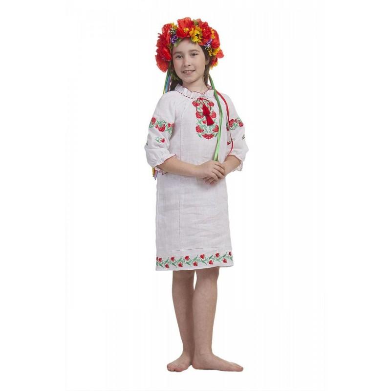 Платье вышиванка для девочки Калиновые бусы (лён белый)