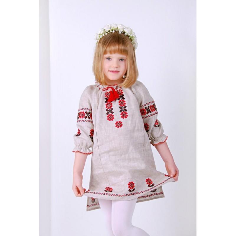 Платье вышиванка для девочки Квитана (лён серый)