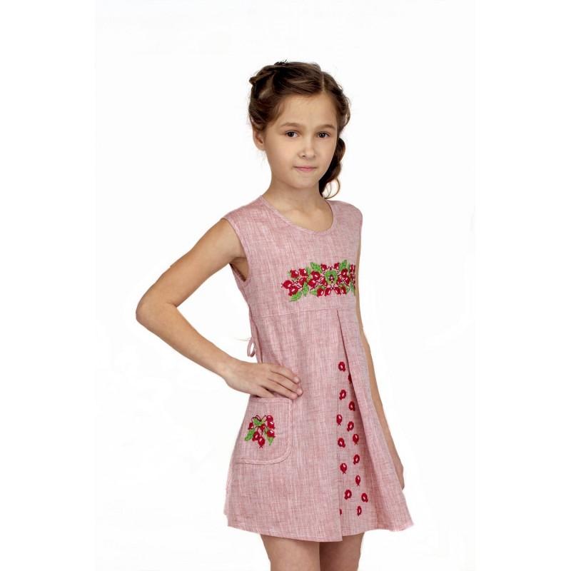 Платье вышиванка для девочки Шиповничек (лен красный)