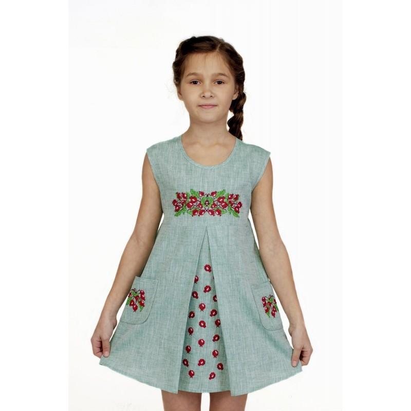 Платье вышиванка для девочки Шиповничек (лен зеленый)