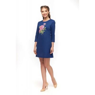 Платье вышиванка женское Гортензия (лен синий)