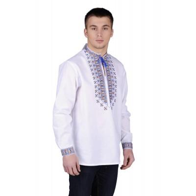 Рубашка вышиванка мужская Гетьман (домотканое полотно)