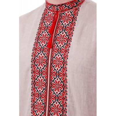 Рубашка вышиванка мужская Богун (лён серый)