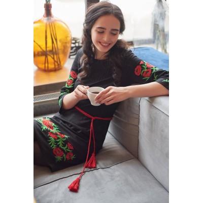Платье вышиванка женское Маковая роса (лён-стрейч черный)