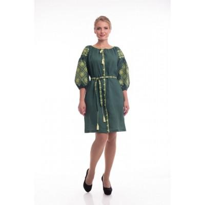 Платье вышиванка женское Иванна (лён зеленый)