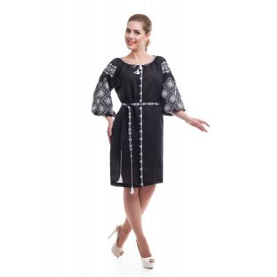 Платье вышиванка женское Иванна (лён черный)