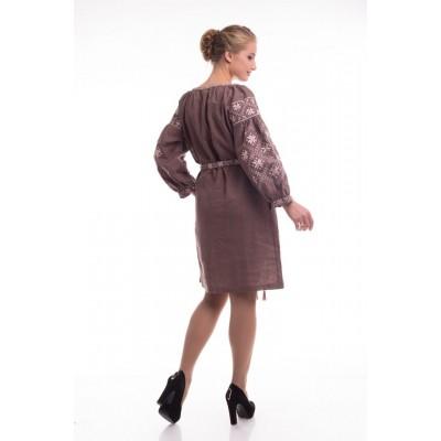 Платье вышиванка женское Иванна (лён коричневый)