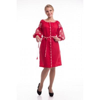 Платье вышиванка женское Иванна (лён красный)