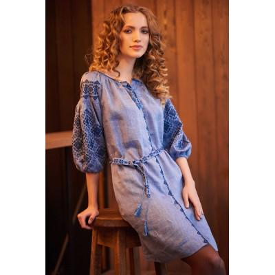 Платье вышиванка женское Иванна (лён синий)