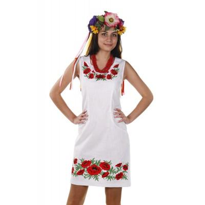 Платье вышиванка женское Маковая роса (лён-стрейч белый)