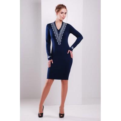 Платье вышиванка женское Иванна (джерси синие)