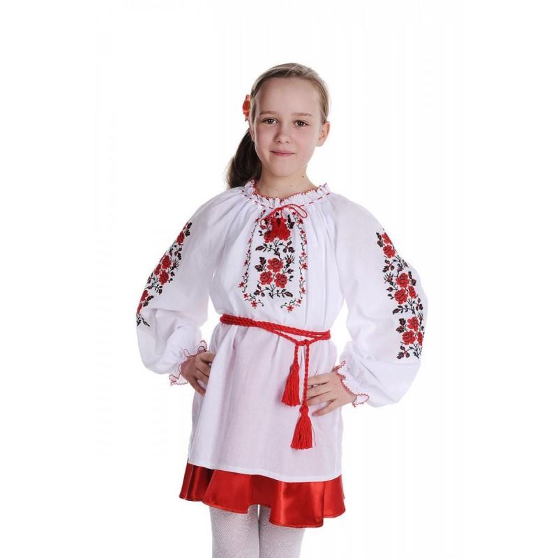 Блуза вышиванка для девочки Букет роз (сорочечная белая)