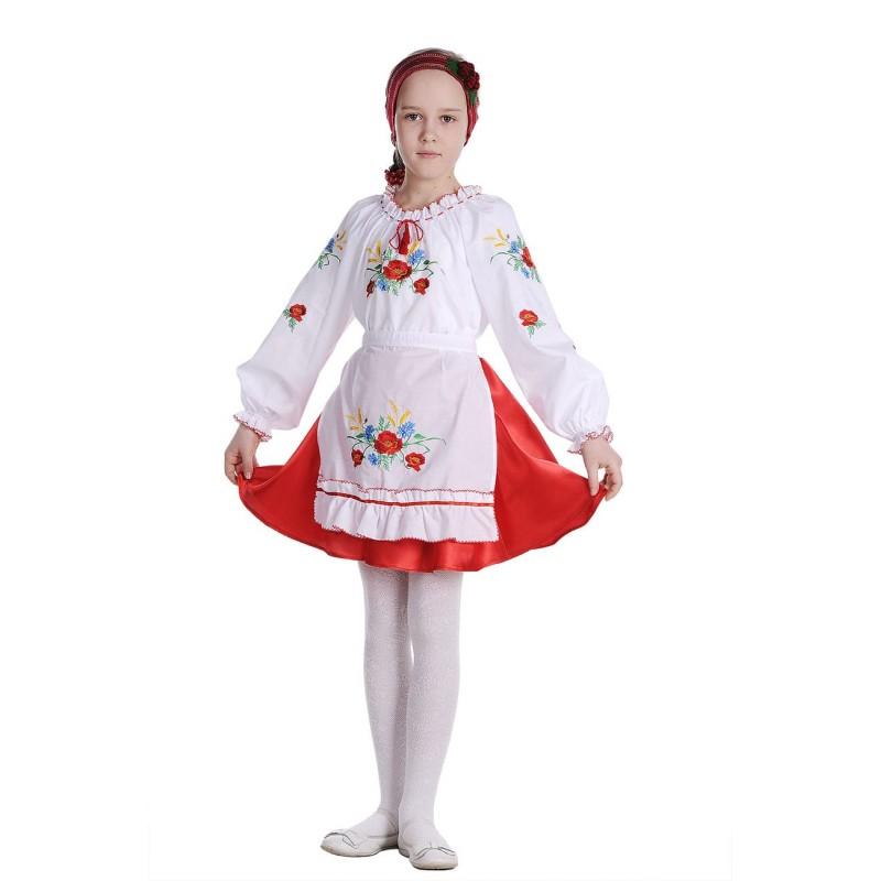 Блуза вышиванка для девочки Васильковое поле (сорочечная белая)