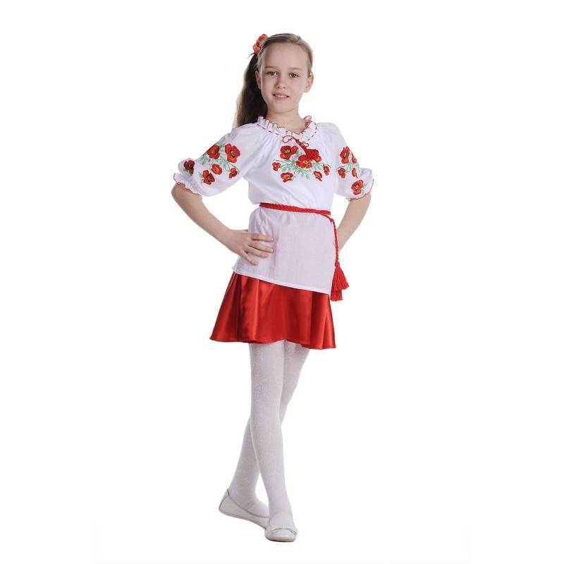 Блуза вышиванка для девочки Маковое поле (батист белый)