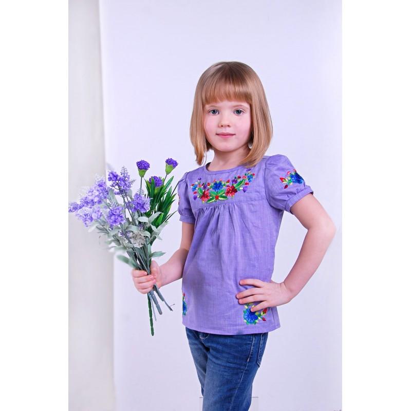 Блуза вышиванка для девочки Фиалковая сказка (батист фиолетовый)