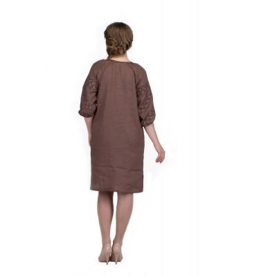 Платье вышиванка женское Биляра (лён коричневый)