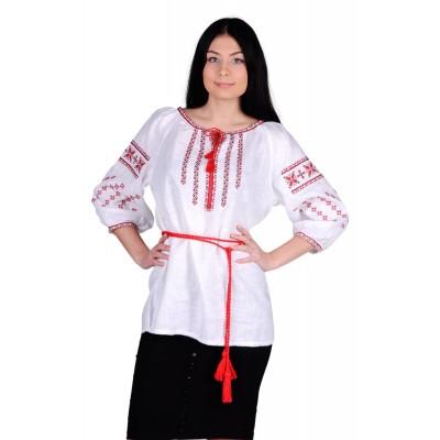 Блузка вышиванка женская Богуслава очаровательнаяя (лён белый)