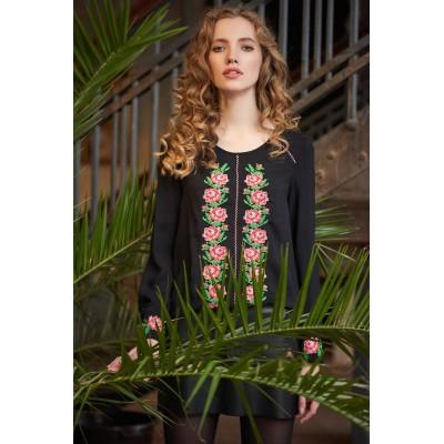 Блузка вышиванка женская Мелания (штапель чёрный)
