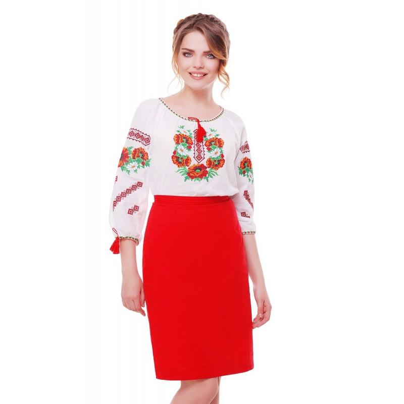 Блузка вышиванка женская Цветочная (батист белый)