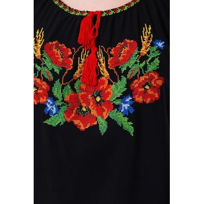 Блузка вышиванка женская Карпатский веночек (штапель черный)