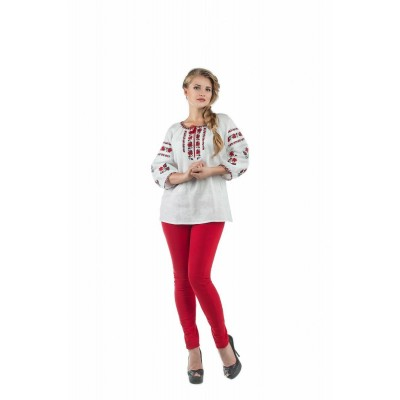 Блузка вышиванка женская Орина (лён белый)