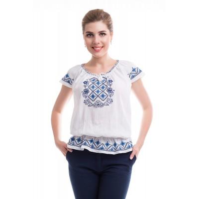 Блузка вышиванка женская Жизнедайная (жатка белая)