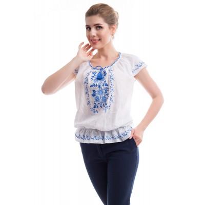 Блузка вышиванка женская Букет роз (жатка белая)