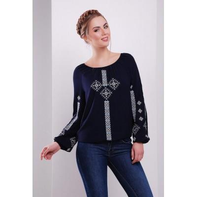 Блузка вышиванка женская Обереговая (штапель темно-синий)