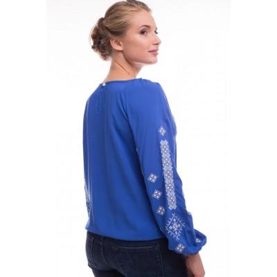 Блузка вышиванка женская Обереговая (штапель синий)