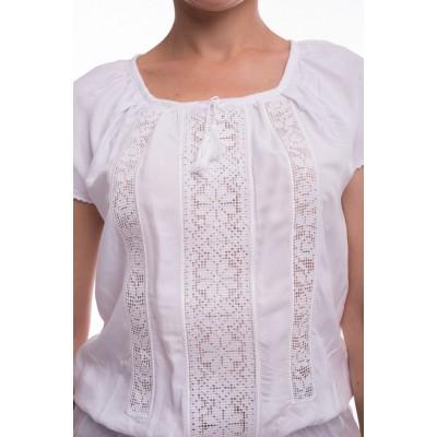 Блузка вышиванка женская Ладослава (штапель белый)