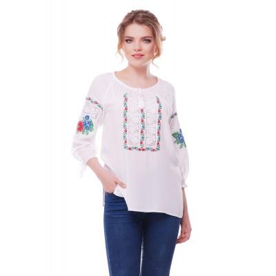 Блузка вышиванка женская Ласкавица (штапель белый)