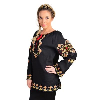 Блузка вышиванка женская Лилия особенная (лён черный)