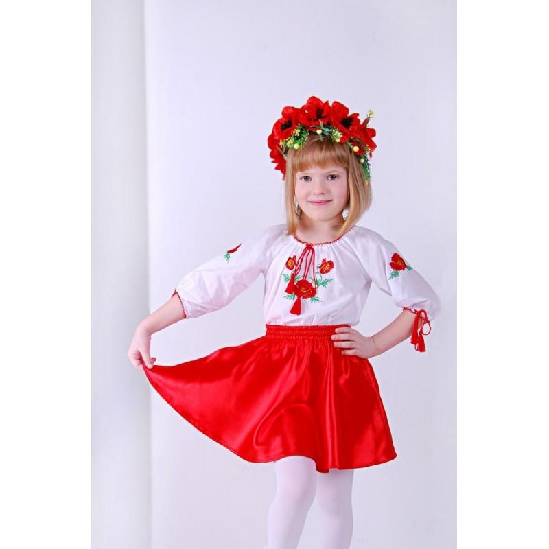 Юбка для девочки Солнышко (атлас красный)